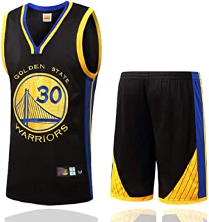 FSBYB FSBYB Mens Trikots Set - Golden State Warriors # 30 Stephen Curry Basketball Jerseys Swingman Ärmel T-Shirt und Shorts,Schwarz,L