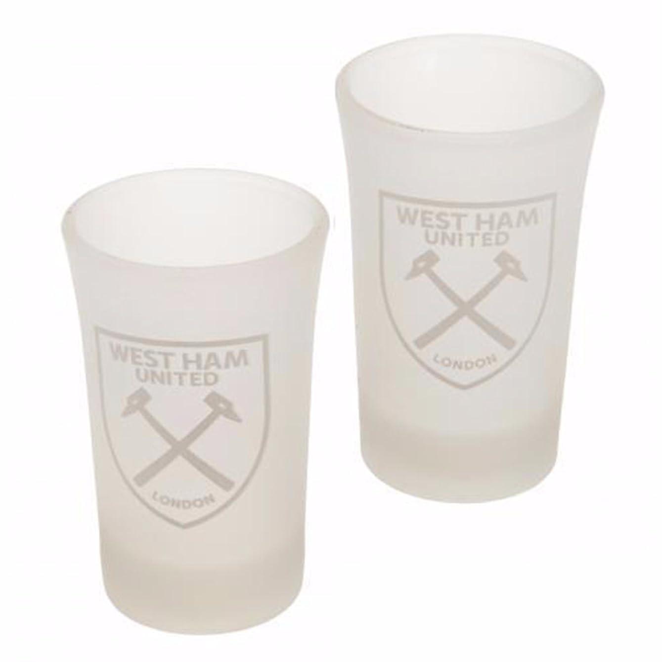慈悲じゃがいも本West Ham United FC公式Frostedショットグラス( Pack of 2?) One Size オフホワイト UTSG10102_1