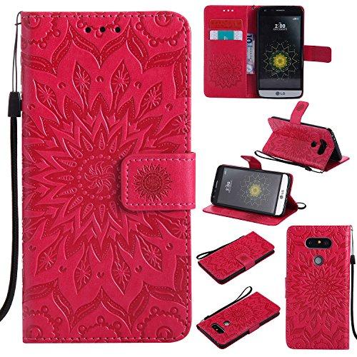 ZIKT031589 - Funda de piel sintética tipo cartera para LG G5 (con tarjetero), color rojo