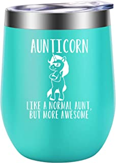 Aunt Gifts - Aunticorn, Unicorn Aunt Gifts for Women, Sister, Sister in Law - BAE, Best Aunt Ever Gifts - Funny Aunt Birthday Gift - Great Auntie, Aunt Gifts from Niece, Nephew - LEADO Wine Tumbler