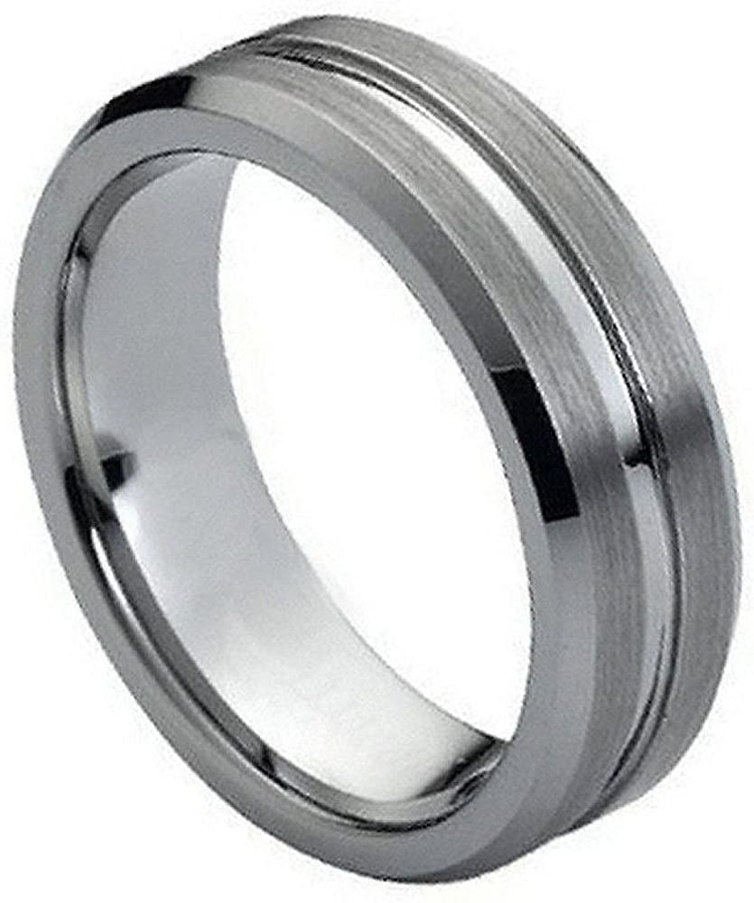 7mm Tungsten Carbide Milwaukee Mall Brushed with Shiny Beveled Groove and Edge Ranking TOP10