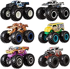 Collection of rivals in a 2-pack of 1:64 Scale Hot Wheels Monster Trucks (each sold separately)! Giant wheels and rad details— kids will want to collect them all! Each set of two Monster Trucks in the collection are perfect for one-on-one crashing...