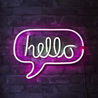"""Isaac Jacobs 17"""" x 12"""" inch LED Neon 'White & Pink """"hello"""" Word Bubble' Wall Sign for Cool Light, Wall Art, Bedroom Decorations, Home Accessories, Party, and Holiday Décor: Powered by USB Wire (HELLO)"""