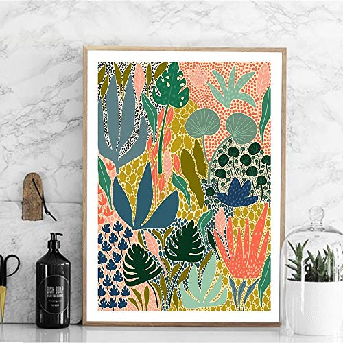 YCCYI Modern Multicolored Abstract Garden Plants Cavans Painting Posters and Prints Wall Art Picture for Room Home Wall Decor 12'x18'(30x45cm) Unframed