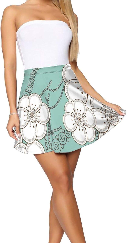 RHRFOL Flower Pattern 1 Women's Basic Versatile Stretchy Flared Casual Mini Skater Skirt