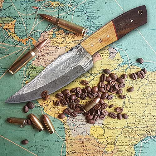Edles Damast Gürtelmesser als Jagdmesser Survival Bushcrafting Messer, Carbon Stahl handgeschmiedet mit robustem Lederholster