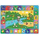 beetoy Baby Play Mat,Crawling Mat for Baby,Plush Surface Collapsible Non-Slip Design ,Baby Play Mat Animal Abc-Educational Learning Area,for Kid Bedroom Playroom Baby Play Mats for Floor(59X 44 Inch)