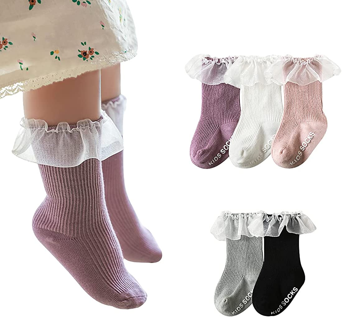 HOUSEYUAN Baby Toddlers Girls White Cotton Princess Style Ruffles Lace Top Frilly Mesh Socks Pack Dress Socks