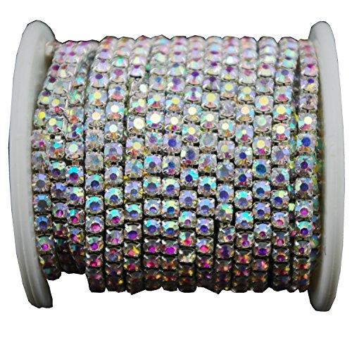 AEAOA 10 Yard Crystal AB Rhinestone Close Chain Clear Trim Sewing Craft (4mm, Silver)