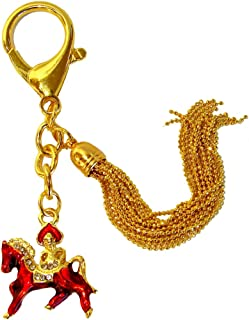Feng Shui Import Bejeweled Red Horse Keychain Amulet