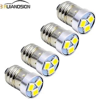 Ruiandsion - Bombilla LED E10 (4 unidades, 3 V, 6 V, 12 V), 3030, 3 SMD, luz blanca - bombilla de repuesto para faros, linternas, negativo a tierra, 6 V