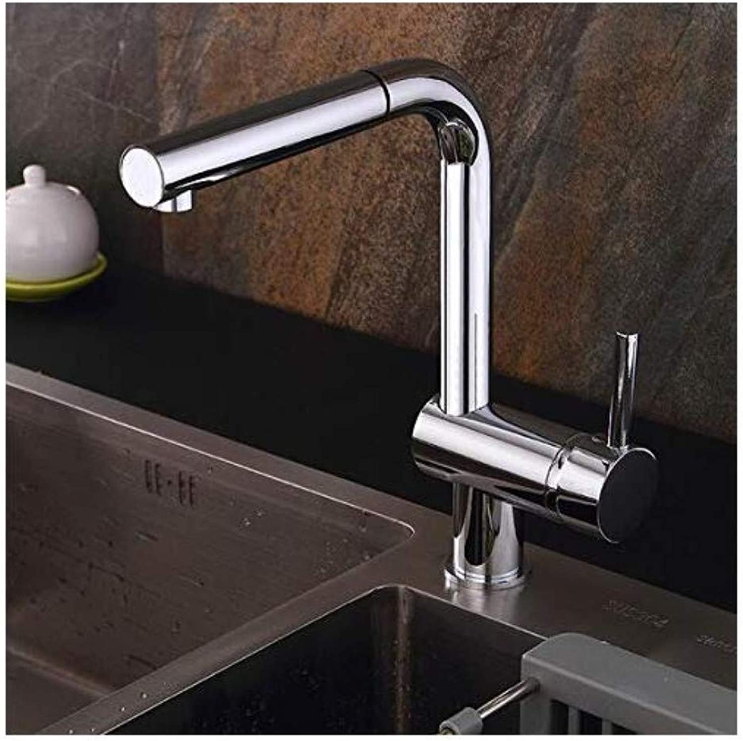 Brass Wall Faucet Chrome Brass Faucethole Mounted Cold and Hot Mixer redatable Faucet