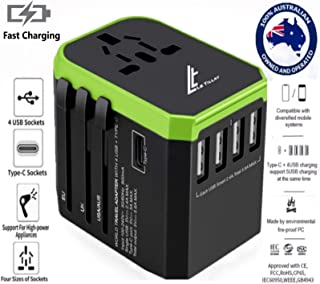 LE TILLAY Universal Travel Adaptor 5.6A (MAX) - High Speed 2.4A -4 USB and 1 Type-C for AU US EU UK - International Power Adapter - Universal Travel Adapter - Worldwide All in One Plugs Smart Charger AC Power Wall Plug for Worldwide 150+ Countries like Europe Asia Japan Australia Middle East India Israel Germany France Italy India Africa China Russia American British European Adaptor (GREEN)
