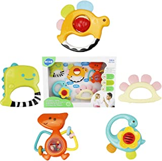 WISHTIME Rattle Teether Baby Toys - Baby 5pcs Animal Shake and GRAP Baby Hand Development Rattle Toys for Newborn Infant with Giant Bottle Gift for 3 6 9 12 18Month