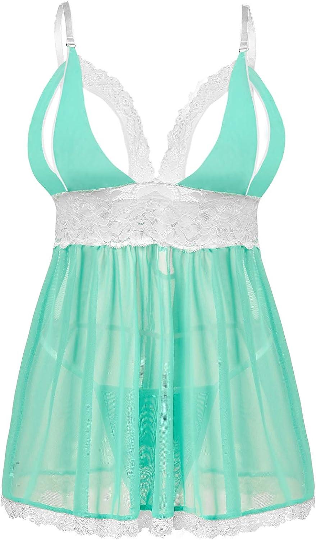 Donnalla Women's Sexy Plus Size Lingerie - Split Cup Lace Babydoll Sleepwear Chemise Set 2XL,3XL,4XL
