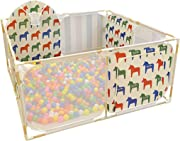 WJSW Kids Activity Centre Square Baby Playard Playpen Portable Oxford Washable Play Center Fence Household Assembled Kid s Safety Activity Center with Ball  Size 59 06 quot x25 59 quot   Safety