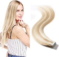 40 Pieces Tape in Hair Extensions 100g Remy Human Hair Balayage Color Double Side Tape Seamless Skin Weft Rooted Tape on Human Hair Extensions (16 inch 40pcs,#18/613 Light Ash Brown mix Bleach Blonde)