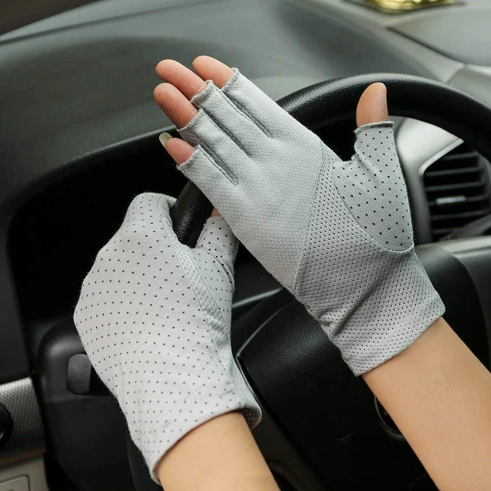 ACOMOO Women Sunscreen Fingerless Gloves UV Protection Driving Fishing Cotton Mittens