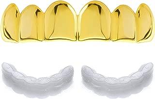 Plain Grillz 14k Gold Plating Upper Top Grillz Teeth 2pc Molding Bar L001G / Made in Korea