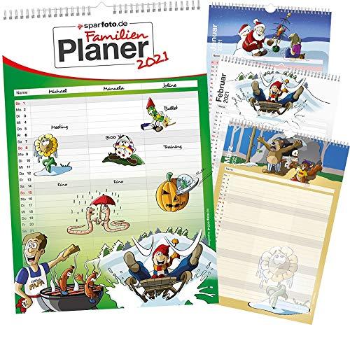 Familienplaner/Familien-Kalender 2021 im XXL-Format mit 3 Spalten, 29,7cm x 44cm - Wandkalender inkl. Feiertage und Ferientermine