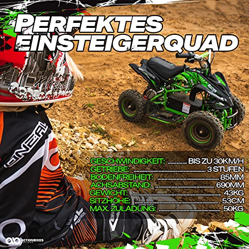 Actionbikes Motors Kinder Elektro Miniquad ATV Racer schwarz/blau - 9