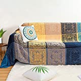 MayNest Bohemian Tribal Throws Blankets Reversible Colorful Red Blue Boho Hippie Chenille Jacquard Fabric Throw Covers Large Couch Furniture Sofa Chair Loveseat Recliner Oversized (Blue, L:87x102)