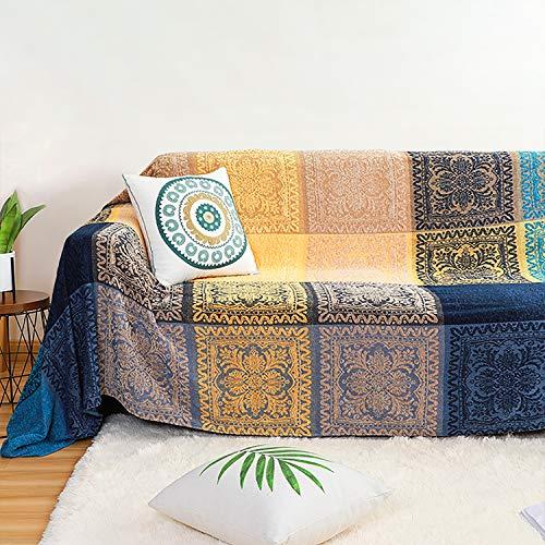 MayNest - Mantas tribales bohemias de chenilla para sofá, sillón reclinable, tamaño grande, color rojo y azul