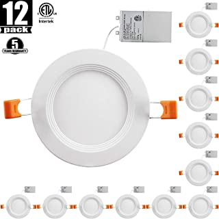 4Inch LED Recessed Ceiling Light with Junction Box,Slim LED Downlight Dimmable 3000K Warmlight, Dimmable Airtight Downlight, 650lm(65-80)W Equivalent ETL Certified, Pack of 12 30K