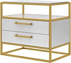 Bedroom Bedside Table Storage Cabinet Night Stand Storage with 2 Drawers Chest Home Furniture Golden Metal Frame for Livin...