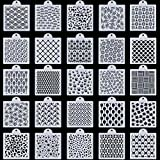 BKpearl 25 Pieces Cookie Stencil, Cupcake Stencil Baking Templates Food Decorating Stencils for DIY Craft Wedding Birthday Party
