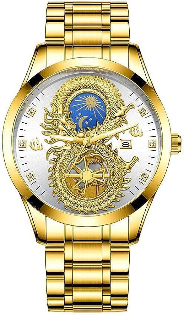 Relojes de dragón chapados en oro para hombre Cool Luminous Moon Stars Calendar Dragon Business Casual Reloj de pulsera Reloj de cuarzo analógico impermeable Cumpleaños Regalos de boda