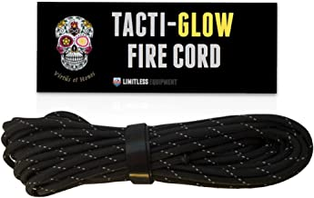 Limitless Equipment Firecord Cordage : MIL-SPEC 550 Paracord with Flammable Tinder core. Unique Tear Resistant Reflective TACTI - Glow Finish. 25 Foot