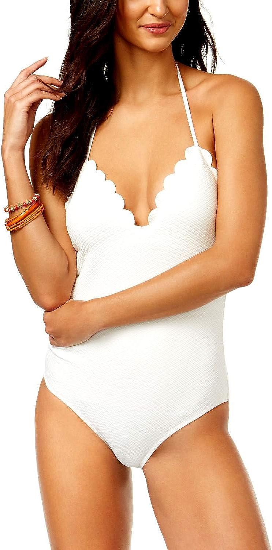 Jessica Simpson Under The Sea Scalloped-Edge Textured One-Piece Swimsuit White XL