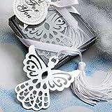 ROSENICE Festa di nozze di Angelo segnalibro favori con fiocco bianco, confezione da 6
