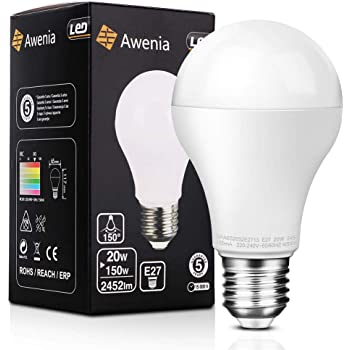 Awenia Bombilla LED Esférica E27 20W (Equivalente a 150W), Luz LED 4000K 2452 Lúmenes Blanco Neutro,1 Pack: Amazon.es: Iluminación