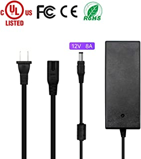 HitLights 12V 8A 96W DC Power Supply, UL Listed LED Power Adapter 120V AC to 12V DC Transformer for LED Strip Lights and More