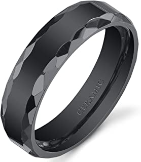 Peora Faceted Edge 6mm Mens and Womens Black Ceramic Wedding Band Ring Available in Sizes 5 to 13