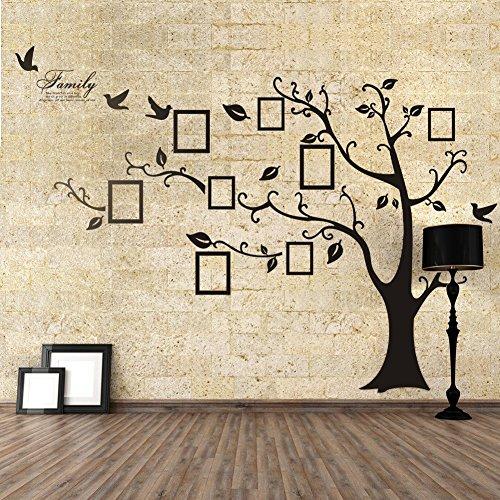 Adesivo da parete in PVC, rimovibile, a forma di albero con rami incurvati e cornici porta foto, nero