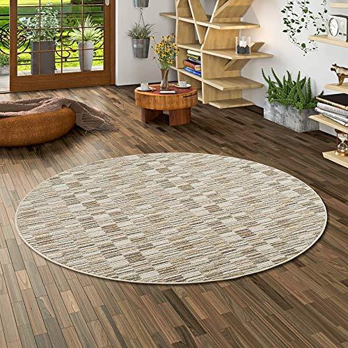 Snapstyle Streifenberber Teppich Modern Stripes Beige Rund in 7 Größen
