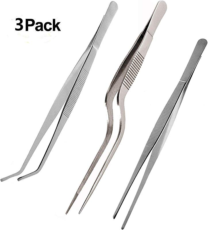 Teanfa Tongs Tweezers 5 5 Inches Stainless Steel Tongs Tweezer With Cooking Utensils Precision Serrated Tips