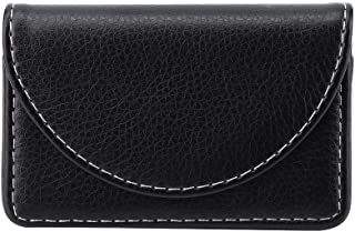Business Name Card Holder Case Portable Lightweight Leather, Wallet Credit Card Holder Case, 3.9 * 2.5 * 0.7 inches (Black)