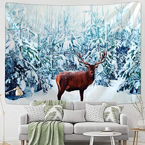 Tapiz de escena navideña tapiz de decoración del hogar tapiz de árboles de Navidad bohemio-150x100cm