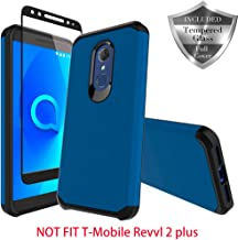 Revvl 2 Case [T-Mobile] Case, SWODERS Heavy Duty Hybrid Armor Shockproof Anti Slip with Tempered Glass Screen Protector Case for Revvl 2 / Alcatel 3 - Blue