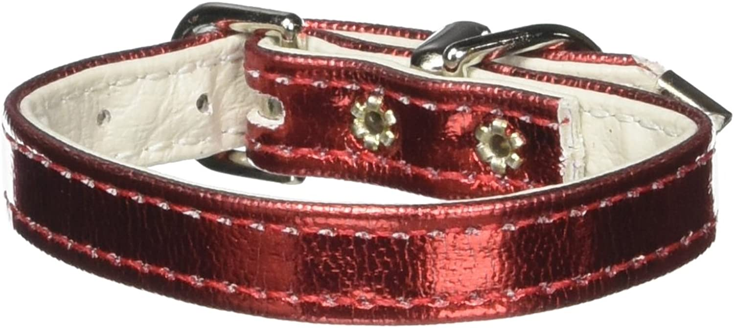 Dog   Cat   Pet Charms Metallic 3 8  Plain Collars Red MTL 8''