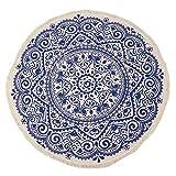 Uniquk Alfombra Redonda Marruecos Borla de Estilo Boho de Dormitorio Alfombra de AlgodóN Tapiz CláSico Nacional Tejido a Mano CojíN del Sofá Alfombrillas de Piso de Tatami-Azul