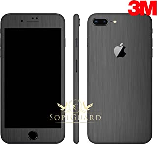 SopiGuard Carbon Fiber Full Body Precision Edge-to-Edge Coverage Easy-to-Apply Vinyl Skin Sticker for iPhone 8 Plus (3M Brushed Gunmetal Gray)