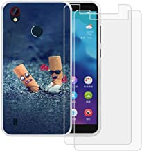 Case for ZTE Blade Visible R2 Cover + 2 Pack Screen Protector Tempered Glass Protective Film - YZKJ Flexible Soft Gel Tran...