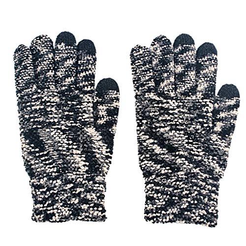 NA. Nangjiang Handschuhe für Damen und Herren, Winter, Herbst, gestrickt, mit Touchscreen, warm, Thermo, bunt, Chenille, elastische Manschette, Texting Fäustlinge