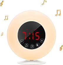 Wake-Up Light Sunrise Alarm Clock Radio with Sunrise Sunset Simulation, Dual Alarm, 4.2 Bluetooth Speaker, 3 Natural Sounds, AM/FM Radio, Snooze Function and Bedside Lamp