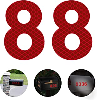 Reflective Mailbox Numbers,2-3/4 Inch Self-Stick Stainless Steel Mailbox Number 8,Street Address Reflective Numbers for Mailbox and Residence Signs,Red,2 pcs